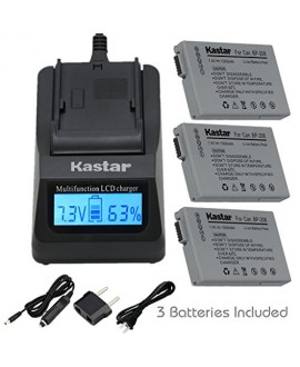 Kastar Fast Charger and BP-208 Battery (3X) for Canon DC10 DC19 DC20 DC21 DC22 DC40 DC50 DC51 DC95 DC100 DC200/201/210/211 DC220/230 Elura 100 FVM300 IXY DVS1 MVX1Si/430/450/460 Optura S1 VIXIA HR10