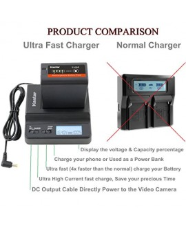 Kastar Ultra Fast Charger & 5 x Battery for Sony BP-U60, BPU60, BP-U66 and PMW-100, PMW-150, PMW-160, PMW-200, PMW-300, PMW-EX1, EX3, PMW-EX160, PMW-EX260, PMW-EX280, PMW-F3, PXW-FS5, PXW-FS7