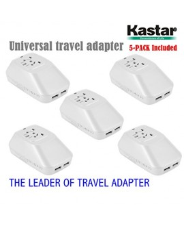 Kastar 5-PACK Safety International Power Adapter, Universal World-Wide Travel AC Adapter with 2.1A Dual USB Charger All-in-one AC Power Plug For AUS USA EU UK (WHITE COLOR)
