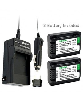 Kastar Battery (2-Pack) and Charger Kit for Panasonic VW-VBY100 and Panasonic HC-V110 V110K V110G V201 V201K Cameras