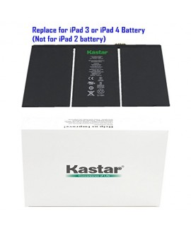 Kastar Battery for Apple iPad 3 (3rd Generation iPad) and iPad 4 (4th Generation iPad) Replacement Internal Battery 3.7v 43.0WHr 11560mAh Fixes for iPad 3 and iPad4