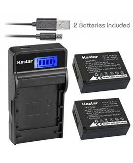 Kastar Battery (X2) & Slim LCD USB Charger for Fujifilm NP-W126 & FinePix HS30EXR, FinePix HS33EXR, FinePix HS50EXR, FinePix X-A1, FinePix X-E1, X-E2, FinePix X-M1, FinePix X-Pro1, X-Pro2, X-T1
