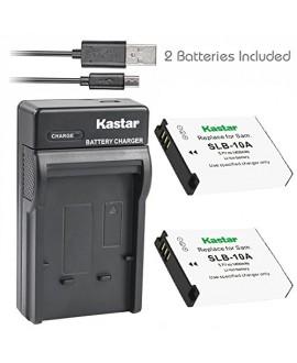 Kastar Battery (X2) & Slim USB Charger for Samsung SLB-10A JVC BN-VH105 and Digimax ES55 ES60 EX2F L100 L110 L210 L310W M100 PL50 PL51 PL55 PL60 PL65 PL70 WB250F WB500 WB700 WB750 WB800F WB850F WB2100