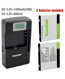 Kastar FL-53HN Battery (2-Pack) and intelligent mini travel Charger ( with high speed portable USB charge function) for LG Thrill 4G P925 / LG Optimus 3D P920 / LG G2x P999 P990 / LG Optimus 2x P990 / LG DoublePlay C729, Fit FL-53HN / FL53HN --Supper Fast