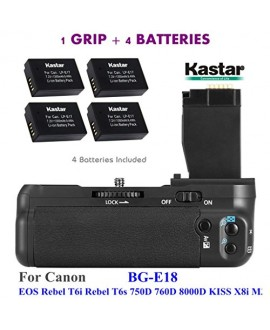 Kastar Pro Vertical Battery Grip (Replacement for BG-E18) + 4x LP-E17 Replacement Batteries for Canon EOS Rebel T6i, Rebel T6s, EOS 750D, EOS 760D, EOS 8000D, KISS X8i,M3 Digital SLR Cameras
