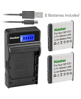 Kastar Battery (X2) & SLIM LCD Charger for Sony NP-FE1 and Sony Cyber-shot DSC-T7 DSC-T7/B DSC-T7/S DSC-P2 DSC-P3 DSC-P5 DSC-P9 DSC-P7 Digital Camera
