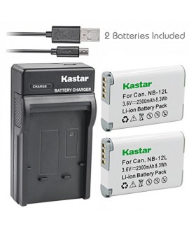 Kastar Battery (X2) & Slim USB Charger for Canon NB-12L, NB12L, CB-2LG and Canon PowerShot G1 X Mark II, Canon PowerShot N100, Canon VIXIA mini X, LEGRIA mini X Digital Camera
