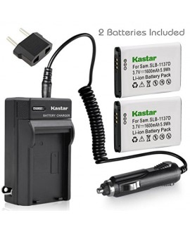 Kastar Battery (X2) & AC Travel Charger for Samsung SLB-1137D Samsung i80 Samsung i85 Samsung i100 Samsung L74 Samsung Wide NV11 Wide NV24HD Wide NV30 Wide NV40 Wide NV100HD Wide NV103 Wide NV106 HD