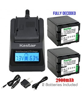 Kastar Ultra Fast Charger(3X faster) Kit and Battery (2-Pack) for Panasonic VW-VBN260 and Panasonic HC-X800 HC-X900 HC-X900M HC-X910 HC-X920 HC-X920M HDC-HS900 HDC-SD800 HDC-SD900 HDC-TM900 Cameras