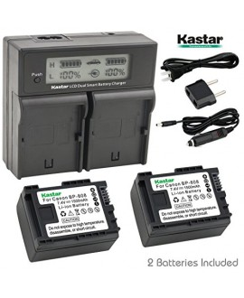 Kastar LCD Dual Smart Fast Charger & 2 x Battery for Canon BP-808, BP808 and Canon FS406 HFM400 HF100 M300 S100 S200 FS36 FS37 HF200 HFS11 HF100 HF20 HG21 Camera