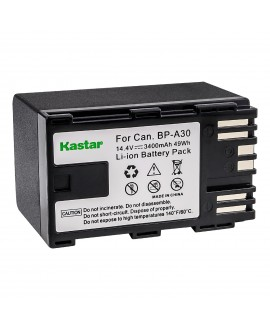 Kastar 2x BP-A30 Fully Decoded Battery + LCD Rapid Charger for Canon BP-A30 BP-A60 BP-A90 Battery, CG-A10 CG-A20 Charger, Canon EOS C200, EOS C200B, EOS C220B, XF705 4K UHD, EOS C300 Mark II, EOS C500 Mark II EOS C700