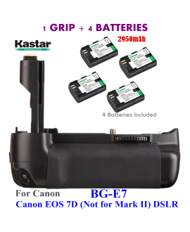 Kastar Pro Multi-Power Vertical Battery Grip (Replacement for BG-E16) + 4x LP-E6 Replacement Batteries for Canon EOS 7D Mark II (Not for EOS 7D) Digital SLR Camera