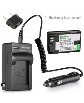 Kastar Battery (1-Pack) and Charger for Canon LP-E6, LC-E6 and EOS 60D, EOS 70D, EOS 80D, EOS 5D II, EOS 5D III, EOS 5DS, EOS 5DS R, EOS 6D, EOS 7D, BG-E14, BG-E13, BG-E11, BG-E9, BG-E7, BG-E6 Grip