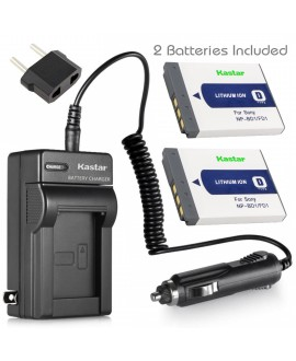 Kastar Battery (X2) & Travel Charger Kit for Sony NP-BD1, NP-FD1 and Sony Cyber-shot DSC-G3, DSC-T2, DSC-T70, DSC-T75, DSC-T77, DSC-T90, DSC-T200, DSC-T300, DSC-T500, DSC-T700, DSC-T900, DSC-TX1