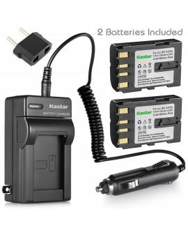 Kastar Battery (2-Pack) and Charger for JVC BN-V408, BN-V408U, BN-V416, BN-V416U Battery Pack, JVC GR-DVL200U, GR-DVL210U, GR-DVL220U, GR-DVL300U, GR-DVL310U, GR- DVL320U, GR-DVL500U MiniDV Camcorder