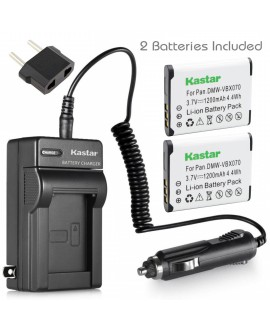 Kastar VW-VBX070 Battery (2-Pack) and Charger Kit for Pentax D-Li88 Panasonic VW-VBX070 Sanyo DB-L80 DB-L80AU & Pentax Optio H90 P70 P80 W90 WS80 Panasonic HX-DC1 DC2 DC10 DC15 WA10 HM-TA2 TA20 Camera