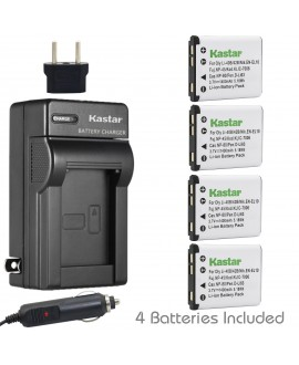 Kastar FNP-45 Battery (4-Pack) and Charger Kit for Fujifilm NP-45, NP-45A, NP-45B, NP-45S Rechargeable Lithium-ion Battery and Fuji Digital Camera (Detail Models in the Description)