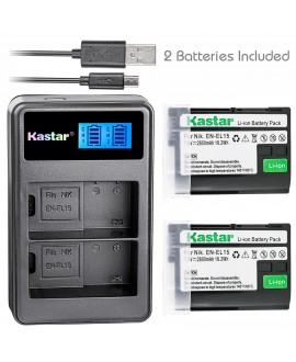 Kastar Battery (X2) & LCD Dual Slim Charger for Nikon EN-EL15, ENEL15 and Nikon 1 V1, D500, D600, D610, D750, D800, D7000, D7100, D800, D800E DSLR Camera, Grip MB-D11, MB-D12, MB-D14, MB-D15, MB-D16