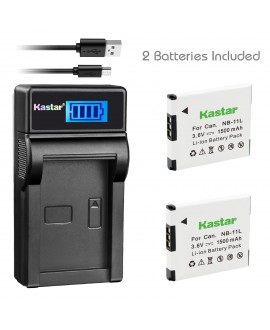 Kastar Battery (X2) & LCD Slim USB Charger for Canon NB-11L and PowerShot SX410 IS SX400 IS ELPH 170 IS 340 HS 320 HS 130HS 110 HS 1150 HS A2300 IS A2400 IS A2500 A2600 A3400 IS A3500 IS A4000 Cameras