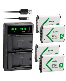 Kastar 4-Pack NP-BX1 Battery and LTD2 USB Charger Replacement for Sony NP-BX1, Type X, X-Series Rechargeable Battery Pack, Sony BC-CSX, BC-CSXB, BC-TRX, ACC-TRBX Charger, Sony ZV-1 Vlog Digital Camera