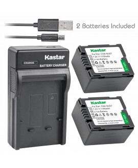 Kastar Battery (X2) & Slim USB Charger for Panasonic CGA-DU07 and NV-GS40 GS44 GS47 GS50 GS55 GS58 PV-GS150 GS200 GS300 GS320 GS400 GS500 SDR-H250 H280 VDR-D258 D300 D308 D310 D400 M74 M75 M95 M250
