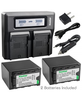 Kastar Fast Dual LCD Charger + 2x Battery for Panasonic AG-VBR89G AG-VBR118G AG-DVC30 AG-HPX171 AG-HPX255 AG-HVX200 AG-HVX201 AJ-PCS060 AJ-PX230 AJ-PX270 AJ-PX270PJ AJ-PX298 AJ-UX180 AJ-UX90 HC-MDH2