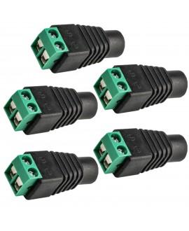 Kastar 5-Pack 12V Female Connector 2.5x5.5mm DC Power Plug Jack Adapter Connector for CCTV ZH
